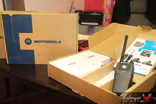 San Pedro Transport Department receives Radios from Minister Heredia