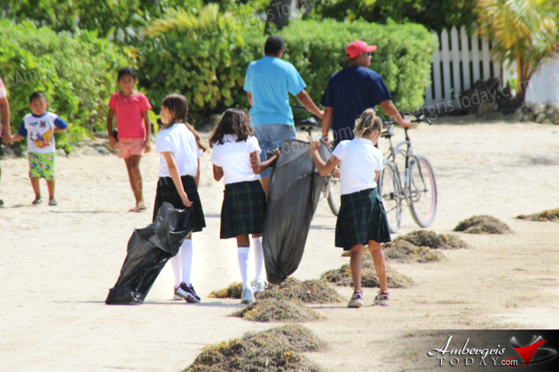 Standard 3 Students of Island Academy help in beach cleanup at Ramon's Village