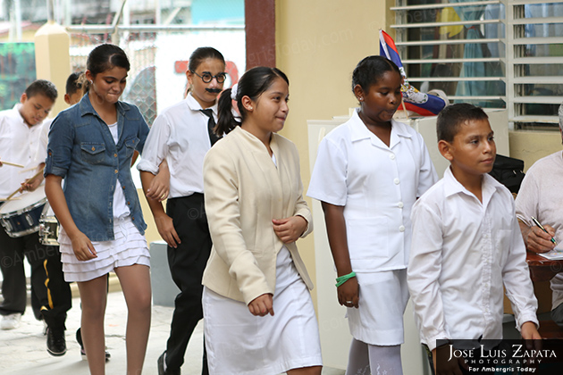 Belize National Hero Day Presentation at Isla Bonita Elementary School -Standard VI reciting the First Belize Independence Flag Ceremony