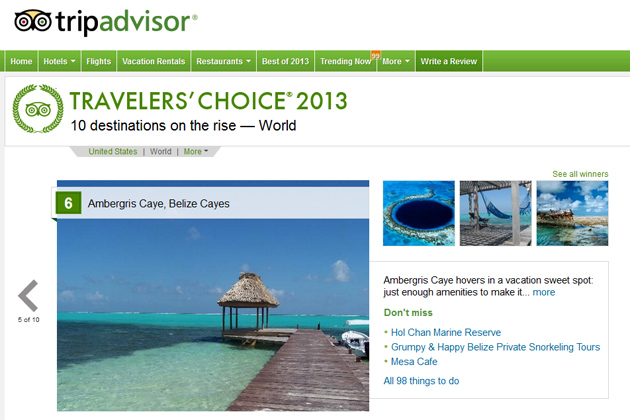Trip Advisor has Ambergris Caye as Destination on the Rise