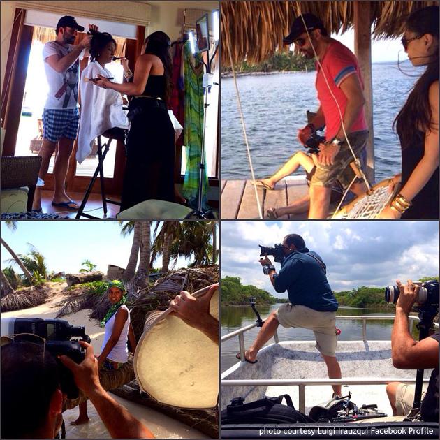 Behind the scenes First Lady of Belize Kim Simplis-Barrow photo shoot Harper's Bazaar Interiors Magazine