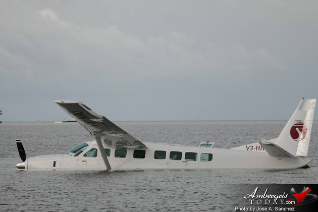 Tropic Air Plane Runs off Belize City Runway into Water