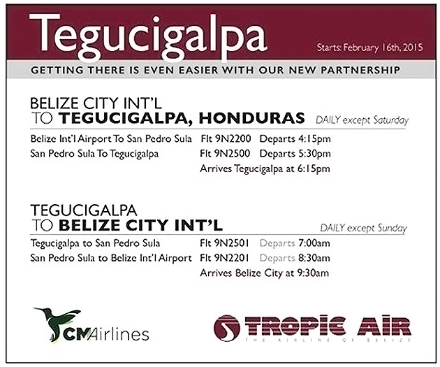 Tropic Air Launches Codeshare Connection To Tegucigalpa, Honduras