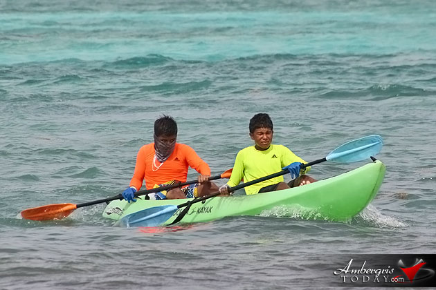 The battle for first place during the San Pedro Lagoon Reef Eco Challenge Kayak Race