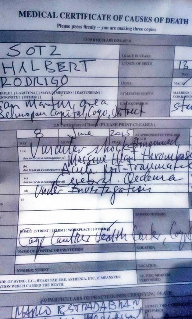 Post Mortem Report Hilberto Sotz Caye Caulker