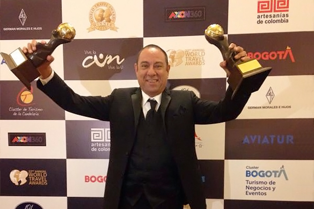 Mr Einer Gomez, Vice-Chairman of the Belize Tourism Board celebrates Belize's Victory at World Tourism Awards 2015