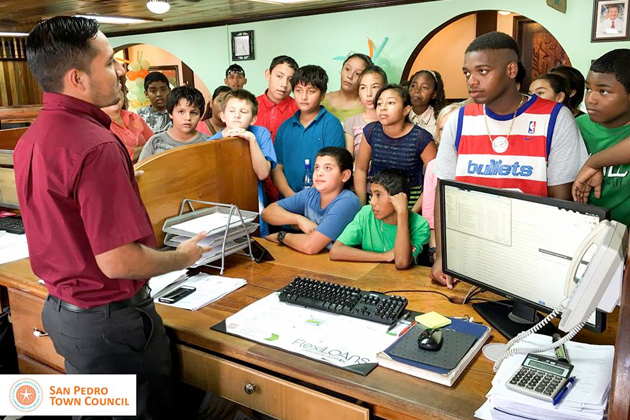 Island Students Invade San Pedro Town Council Offices