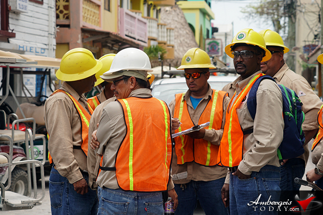 Belize Electricity Limited crew arrives to install high tension wires and reconnect the area with electricity