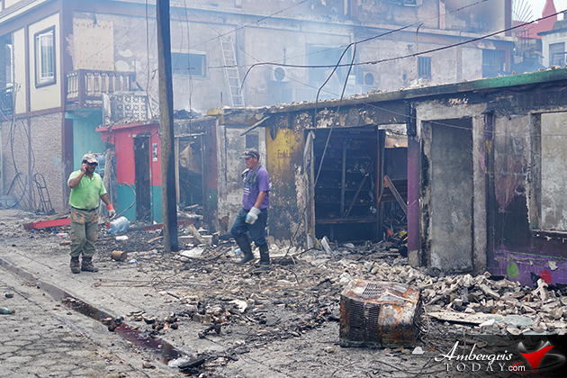 Ambergris Caye's Massive Efforts to Assist 88 Fire Victims and Cleanup Downtown Disaster Area