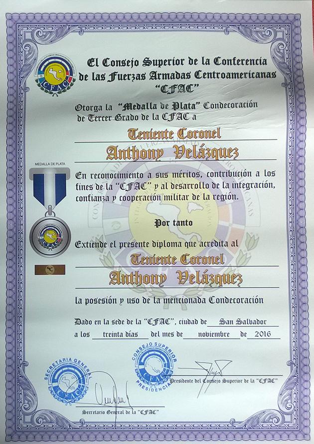 Belize Defence Force Lieutenant Receives Silver Medal Award