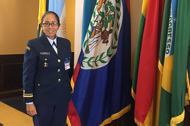 Belize Coast Guard Lieutenant Alma Pinelo Attends Gender Perspective Seminar