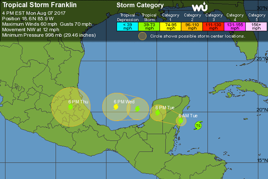 Tropical Storm Franklin to Strike Yucatan Peninsula