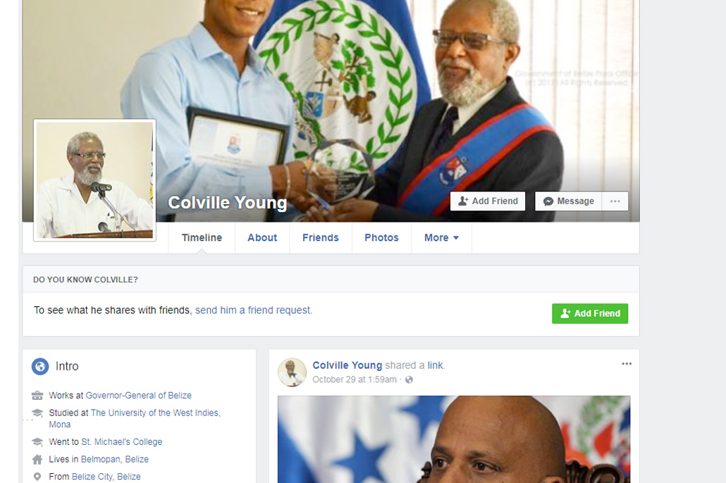 Fake Profiles of Belize Governor General Activated