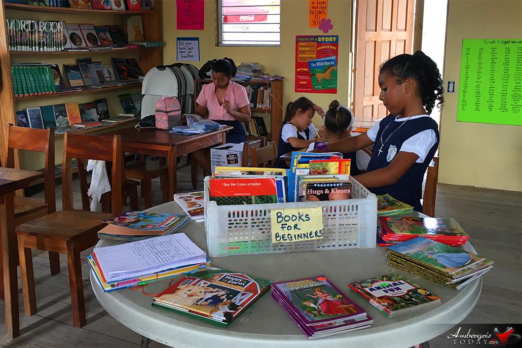 Children Enjoying the New San Pedro RC School Library
