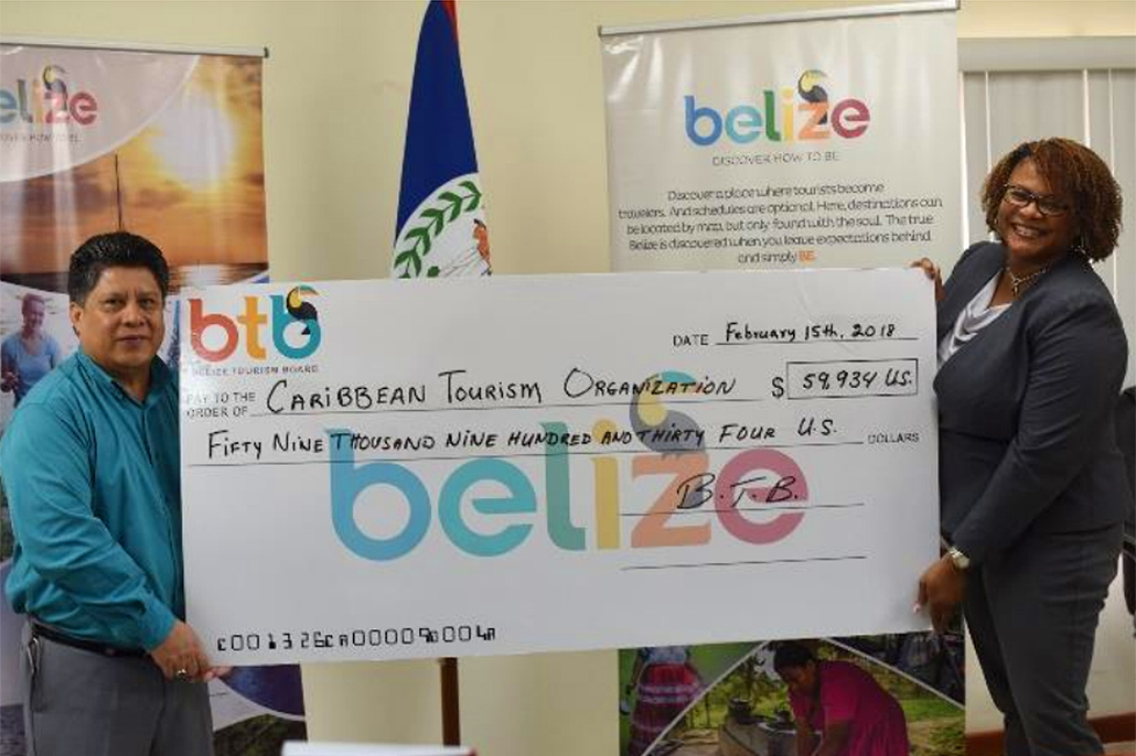 "BTB Presents U.S. $59,934.00 check to Caribbean Tourism Organization as contribution to ""A Dollar for the Caribbean Relief Fund"""