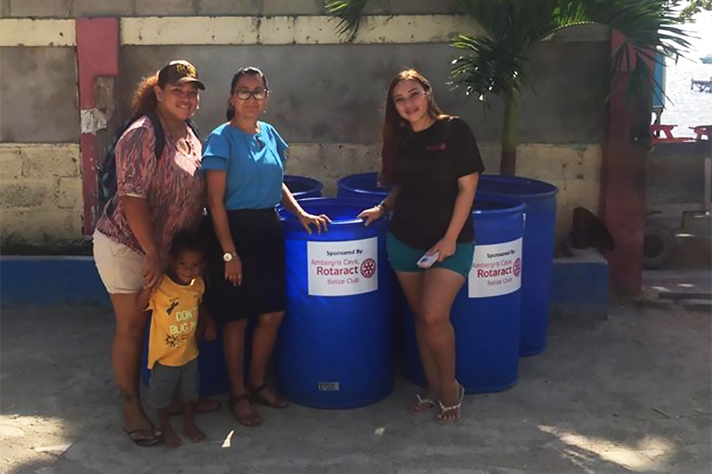 Rotaract Club of Ambergris Caye Donate Trash Bins to Schools