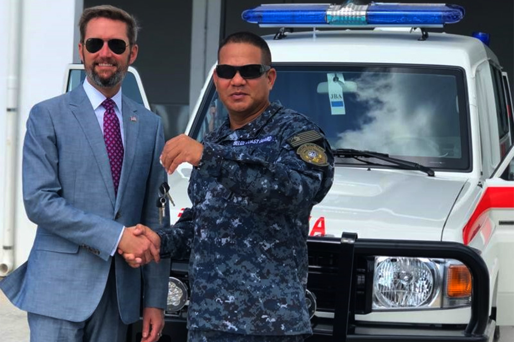 U.S. Embassy Hands Over Ambulance and Medical Equipment to Belize Coast Guard