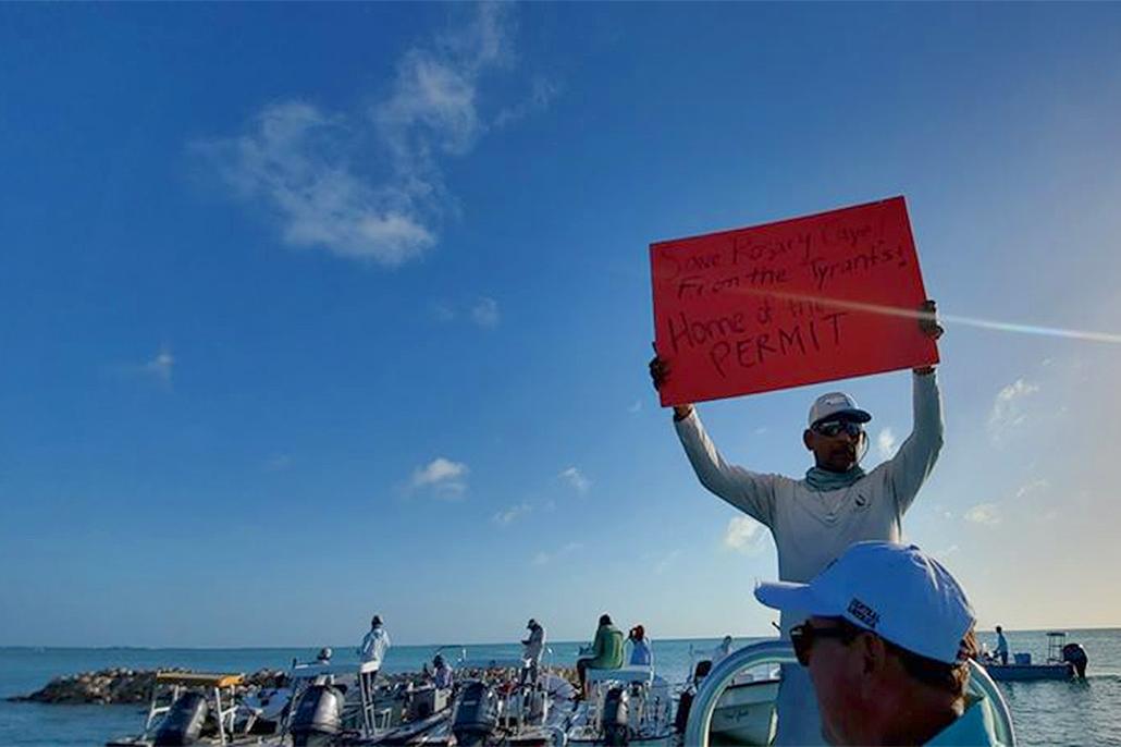 San Pedro Fishermen Protest at Cayo Rosario