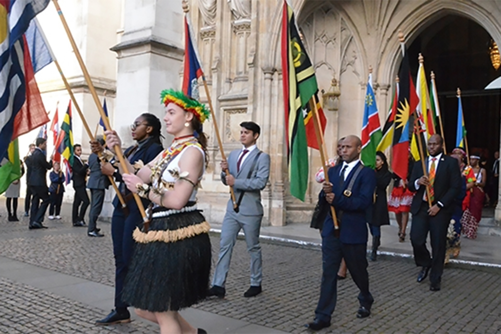 Sanpedrano Flag Bearer at London's Commonwealth Celebrations