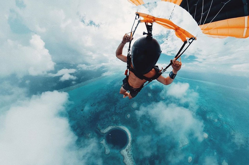 Famous Photographers Skydive the Belize Blue Hole