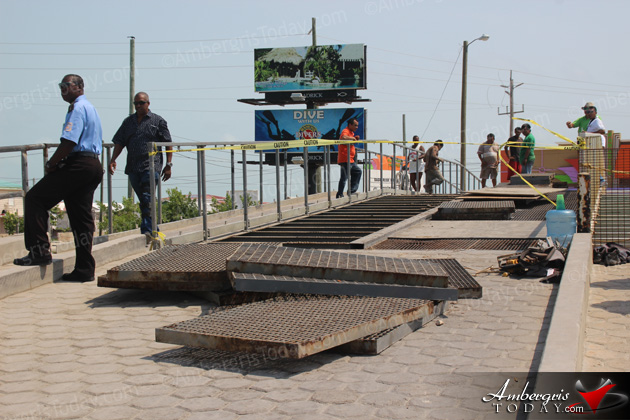 Repairs Commence on Sir Barry Bowen Bridge at Boca del Rio, San Pedro, Belize