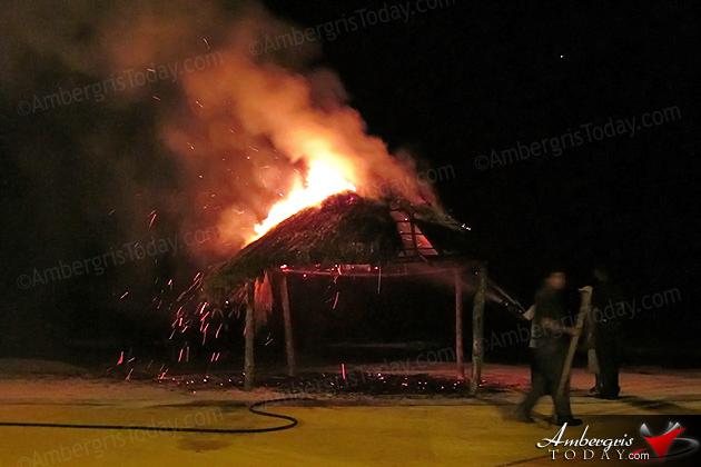 Fire destroys palapa at Boca del Rio Park, San Pedro, Belize