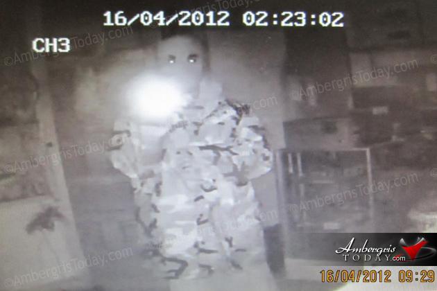 Thief caught on camera at CSM 2000, San Pedro, Ambergris Caye, Belize