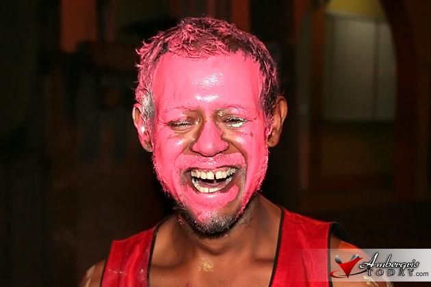 San Pedro Carnaval Reveler shows his true color
