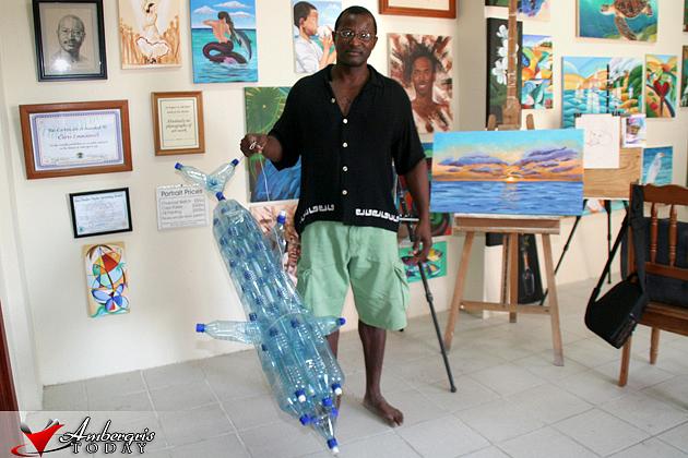 Chris Emmanuel completes his second plastic bottle art
