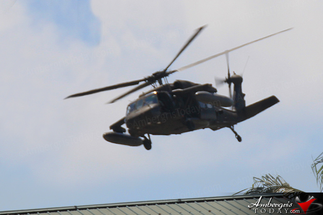 Military Choppers Flyby Very Close to Ambergris Caye