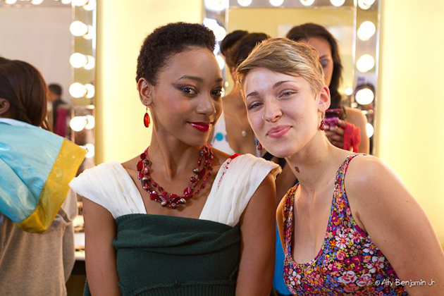 Rebecca poses in the Singer Sewing Room with model Abenah Gonzalez-Alty Benjamin