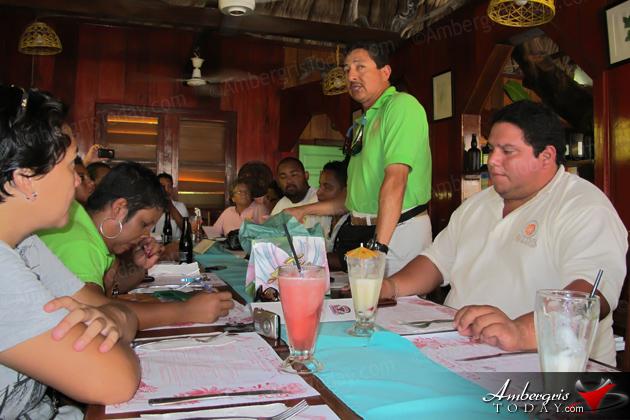 San Pedro Town Council Mayor Danny Guerrero addressing the media