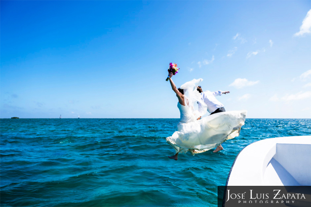 Mike and Aby Simes  Trash the Vera Wang Wedding Dress in Belize