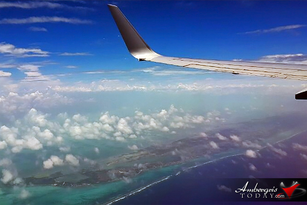 Flying over Ambergris Caye, Belize on American Airlines