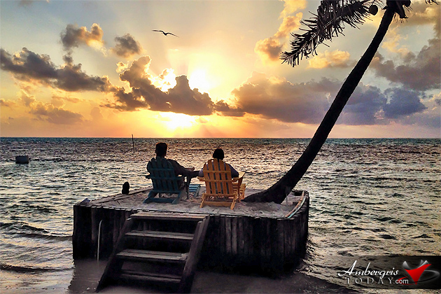 Belize is for Lovers, Couple Enjoying Sunrise during vacation on Ambergris Caye