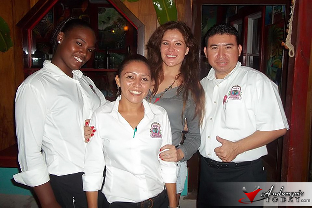 Arlett Teran with the staff of Elvi's Kitchen, San Pedro, Ambergris Caye, Belize