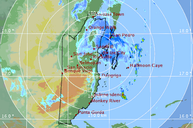 Radar image of bad weather over Belize