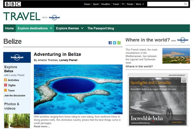 BBC.com Travel Highlights Belize As Premier Tourist Destination