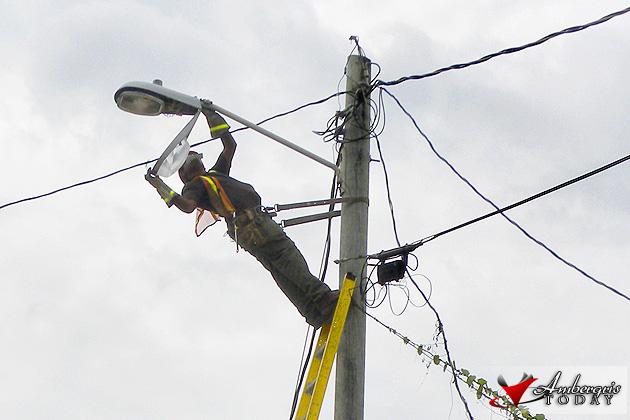 BEL workers fixing up street lights