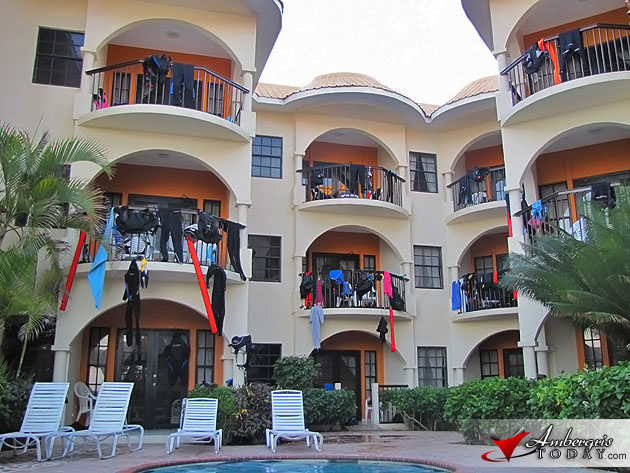 Diving wetsuits hang to dry at Sunbreeze Suites