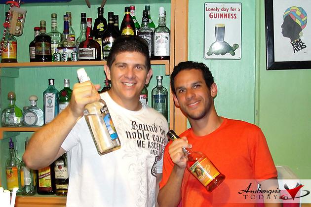 Dorian Nunez and Norbert Figueroa having fun at Caliente Restaurant