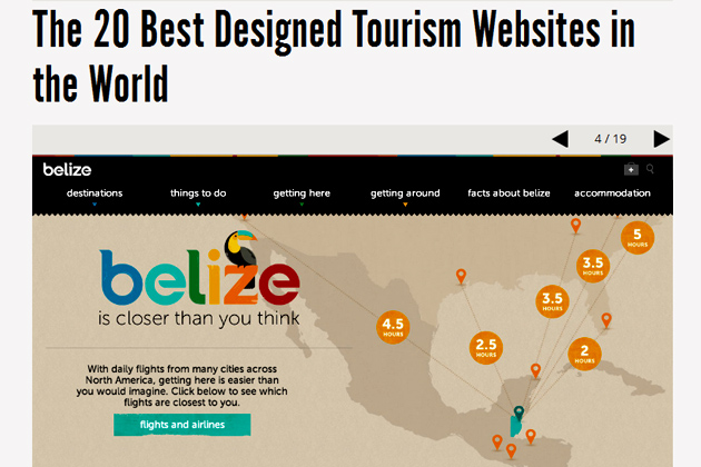 Belize Listed in Top 20 Best Designed Tourism Websites in the World