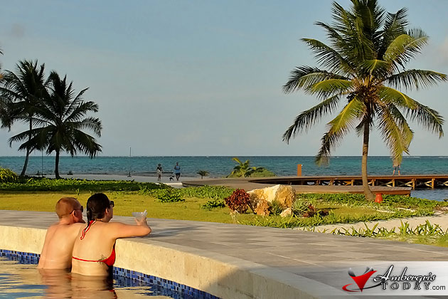 Tourists enjoying an afternoon at the pool at Grand Caribe