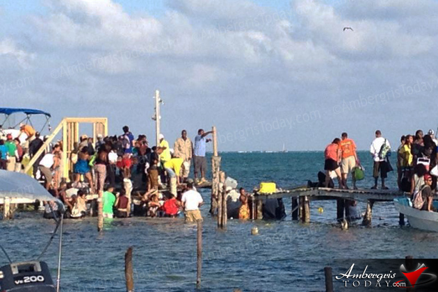 Overloaded Water Taxi Pier Collapses in Caye Caulker, Belize