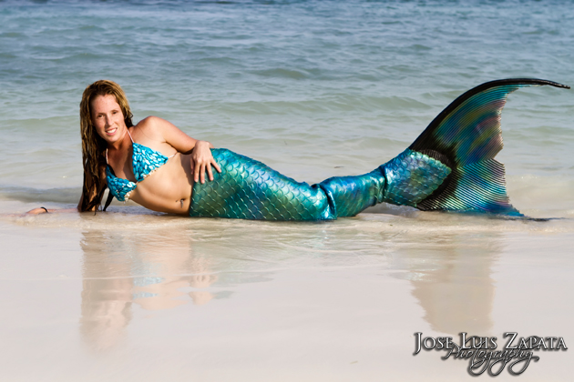 Brandi Mermaid displays her tail on the beach