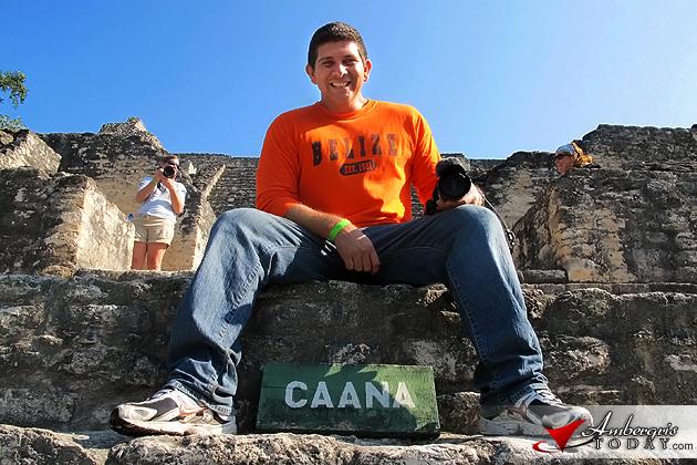 Dorian Nunez climbs Caana Maya Temple at Caracol Archaeological Site
