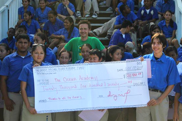 Danny Michel presents Scholarship Fund to Ocean Academy