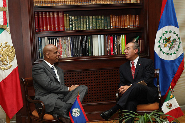 Belize PM Dean Barrow Meets with Mexican President Felipe Calderon