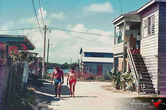 San Pedro Town when it used to be a small fishing village in Belize