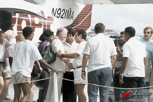Jimmy Carter visits San Pedro, Ambergris Caye